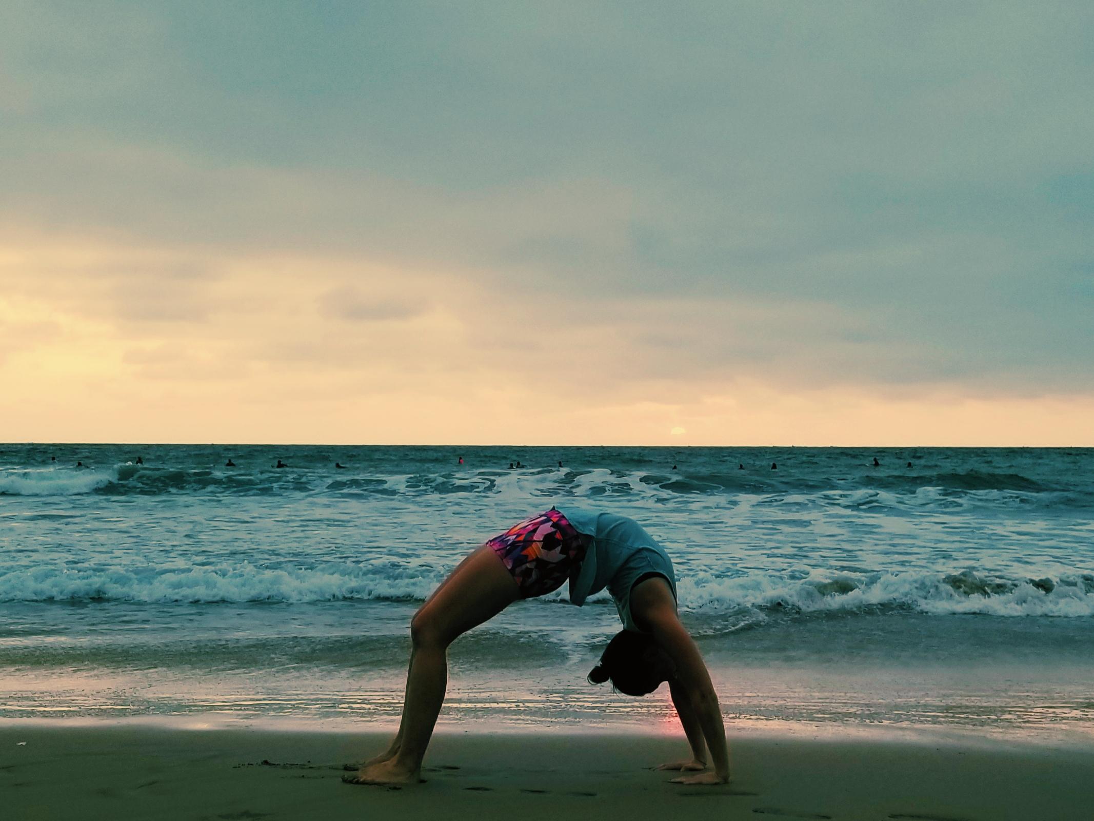 Yoga Teacher Training Upward Bow Sunset Beach